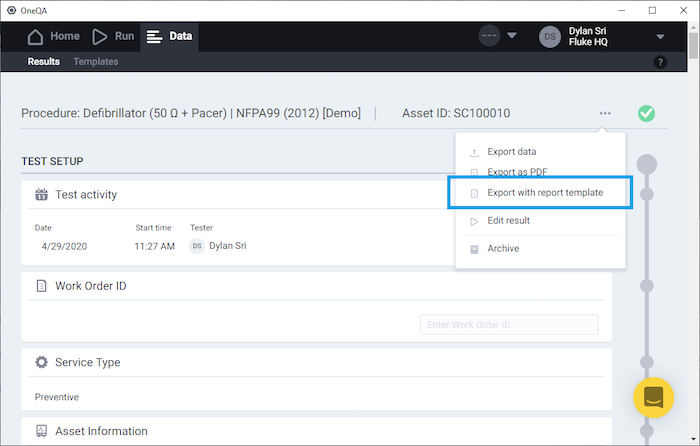 Export with report OneQA