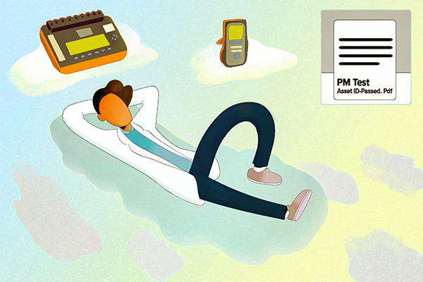Illustration of person relaxing in clouds